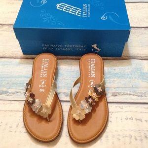 Italian Shoemakers Smilla Metallic Floral Sandals